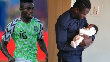 Moses Simon and his new baby